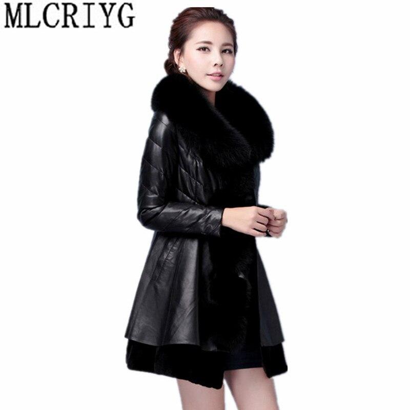 US $64.39 49% OFF|MLCRIYG Winter Women Faux Leather Jacket With Fur Collar Luxury Faux Fur Coat Female Plus Size jaqueta couro 5XL 6XL 7XL YQ006 in