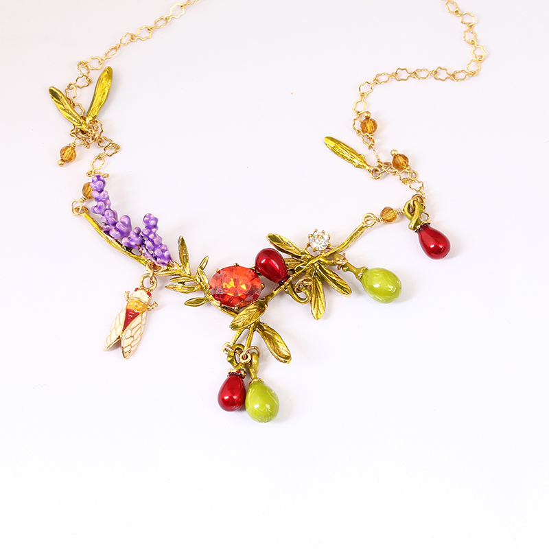 Juicy Grape New Arrivals Alloy Hand Painted Enamel Necklace Lavender Flower Women Gilded Pendant Necklace Fashion JewelryJuicy Grape New Arrivals Alloy Hand Painted Enamel Necklace Lavender Flower Women Gilded Pendant Necklace Fashion Jewelry