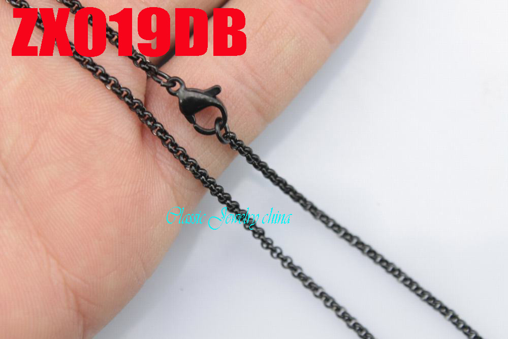 14 38 black color stainless steel necklace 2mm round rolo link chains women fashion jewelry 20pcs