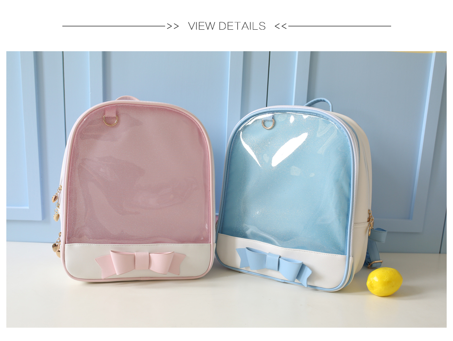 MSMO Cute Clear Transparent Bow Backpack Ita Bag Harajuku School ... d3bdc0e5aa9f