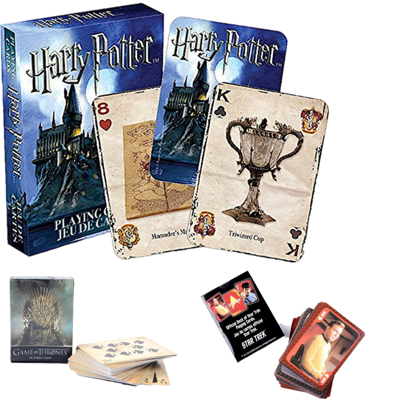 Harri Potter Game Playing Cards Hogwarts House Game of Thrones Star Treck Mass Effect Poker Waterproof Game Cards Figure Kid Toy