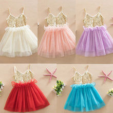 2016 wholesale fashion princess baby girl dress sequins tulle tutu dress party gown formal strap dresses vestidos 1-6Y