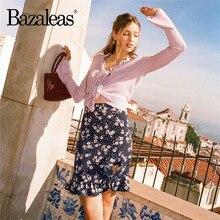 Bazaleas – jupe courte Sexy à volants pour femmes, Vintage, mini, imprimé rose, grenouillère, livraison directe