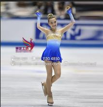 figure skating dresses competition skating clothing expensive girls ice skating dress custom blue free shipping
