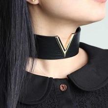 KMVEXO Women Men Cool Handmade Jewelry V Metal Oversized 2019 Choker Leather Collar Bondage Harness Necklace Punk Chockers Gift