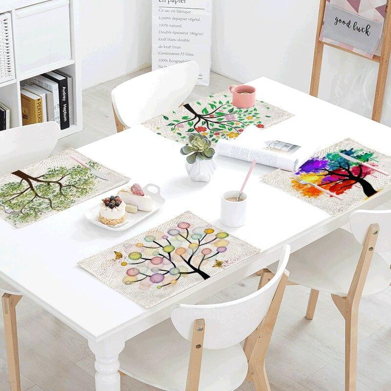 Green Plants Linens Table Napkins Tea Placemat Place Mat Polyester Leaves Butterfly Servilletas Para Bodas Design Party Decor