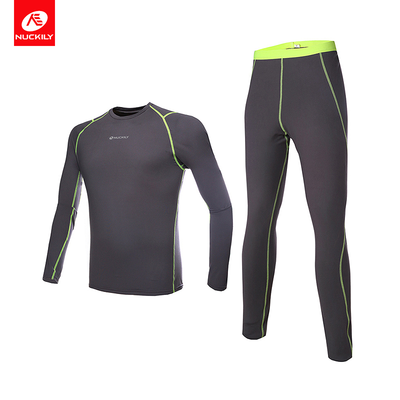 NUCKILY Winter Thermal Underwear Men's Cycling Base Layer Set Running Undershirt Clothing Bicycle Jersey and Tights ME011MF011