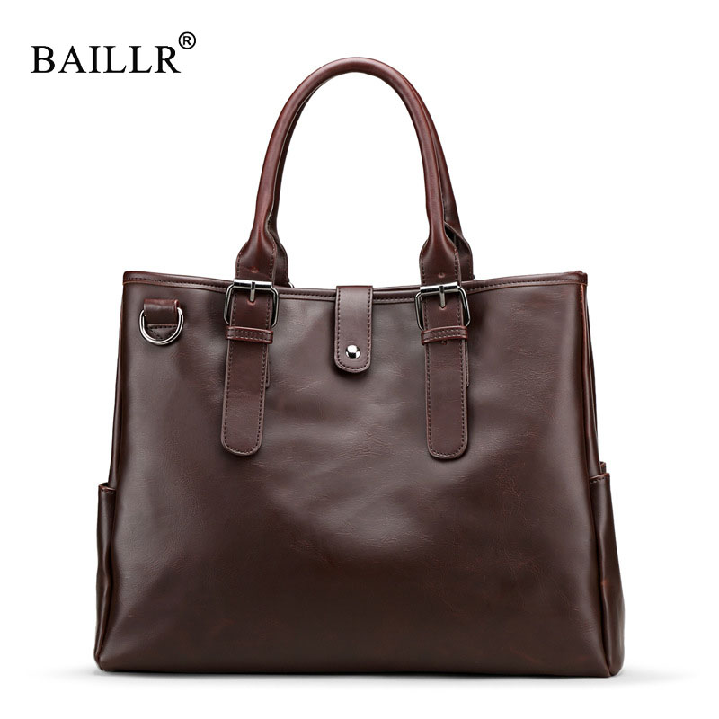 BAILLR Brand New Arrival Fashion Business pu Leather Men Messenger Bags Crossbody Vintage Shoulder Bag Casual Man school Bag sac high quality pu leather bag business casual men messenger bags vintage crossbody travel shoulder bag fashion school book bag