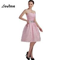 Розовые прелестные короткие Бальные платья с 3D цветами ручной работы из бисера платье для выпускного вечера для партии Выпускные Платья дл
