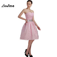 Pink Lovely Short Homecoming Dresses With 3D Handmade Flowers Beaded Prom Dress For Party Graduation Dresses