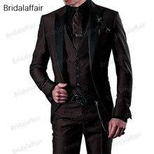 Чудесный смокинг для жениха,, на заказ, коричневые мужские костюмы, Terno, приталенный, с острым отворотом, Женихи, мужские, свадебные, выпускные костюмы