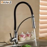 Kitchen Faucet Deck Mount Black Hose Kitchen Mixer Taps Single Handle Swivel Pull Down Kitchen Faucet Chrome Finished