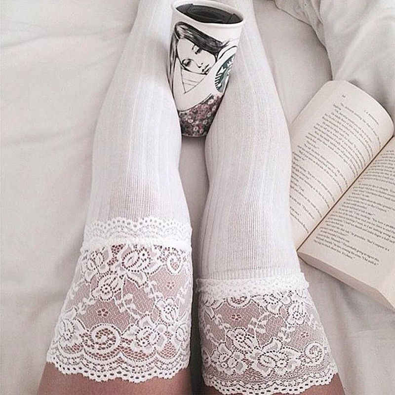 Women Sheer Lace Knitting Thigh High Socks Plus Size Over The Knee Socks
