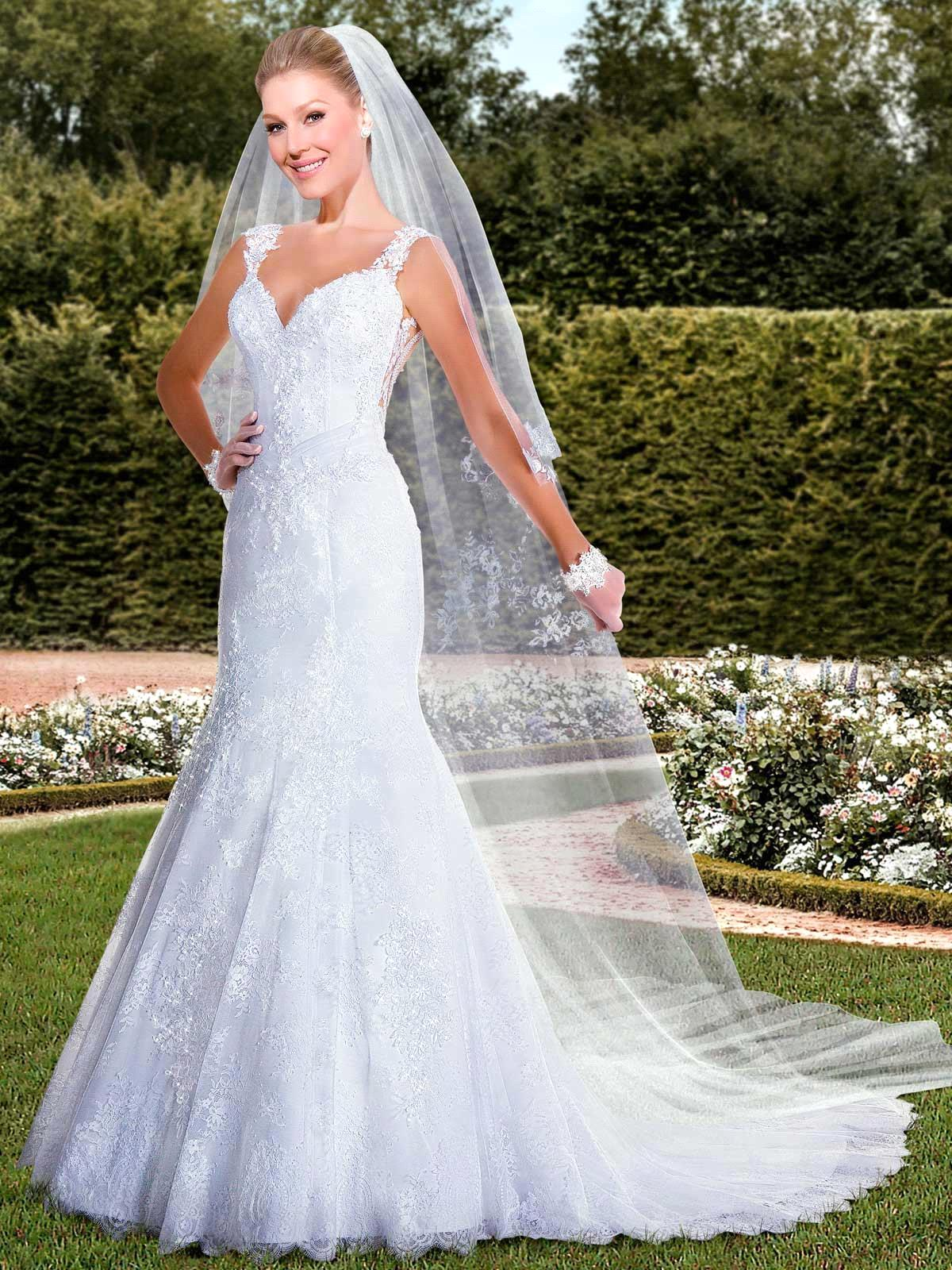 Elegant Beaded Cap Sleeve Backless Mermaid Wedding Dress