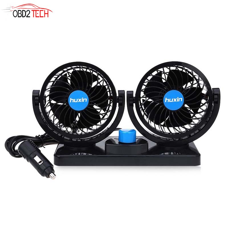 12V Low Noise Summer Car Auto Conditioner 12V 360 Degree Rotating 2 Gears Adjustable Car Fan Air Cooling Fan Mini Electric Car