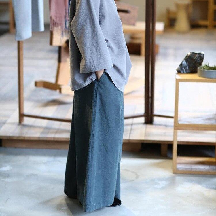 Cordon Original taille lâche lavé vieux coton classique décontracté pantalon à jambes larges