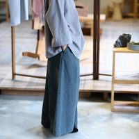 Original Drawstring Loose Waist Washed Old Cotton Classic Casual Wide Leg Pants