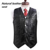 2018 High end Brand men's leather waistcoats Large size real sheepskin vest soft black men's motorcycle jacket Free shipping