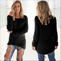 Women Winter Solid Pullovers Sexy  V Neck Knitted Jumper Sweaters Long Sleeve Vintage Casual Office Pull Femme Sweater Plus Size