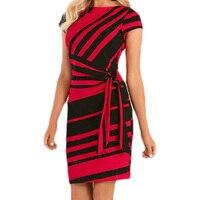 Dear Lover Work Dresses Women 2018 Autumn Pencil Red Black White Stripe Knot Sheath Party Dress