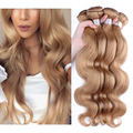 #27 Light Brown Peruvian Virgin Hair Body Wave Human Hair Weaves Peruvian Body Wave Hair Extensions Sunny Queen Hair Products