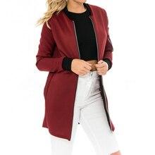 Осень Высокое качество модные женские длинные куртки воротник-стойка однотонный короткий кардиган куртки пальто женские тонкие пиджаки куртки