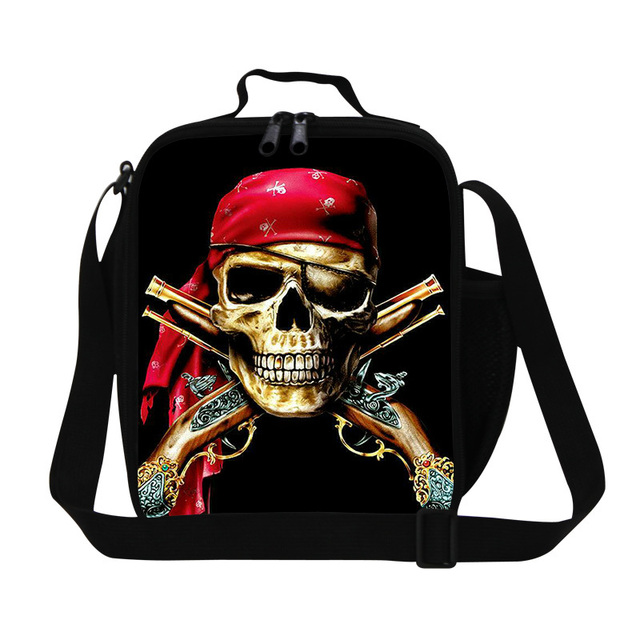 New skull printing lunch bag for men work,children's insulated lunch bag,Sling Picnic bag for kids,thermal container food bag
