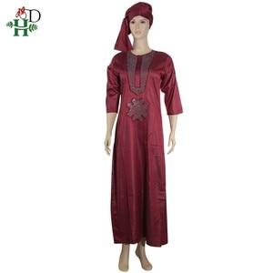 Image 4 - white african women dresses dashiki embroidery plus size ladies african dresses robe africaine maxi dress 3xl 4XL scarf hearwrap