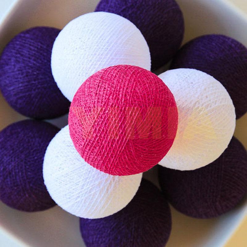 White/Sweet Pink/Dark Purple Cotton Ball LED String Fairy Light Christmas Holiday Garland Guirlande Lumineuse Wedding Party Deco