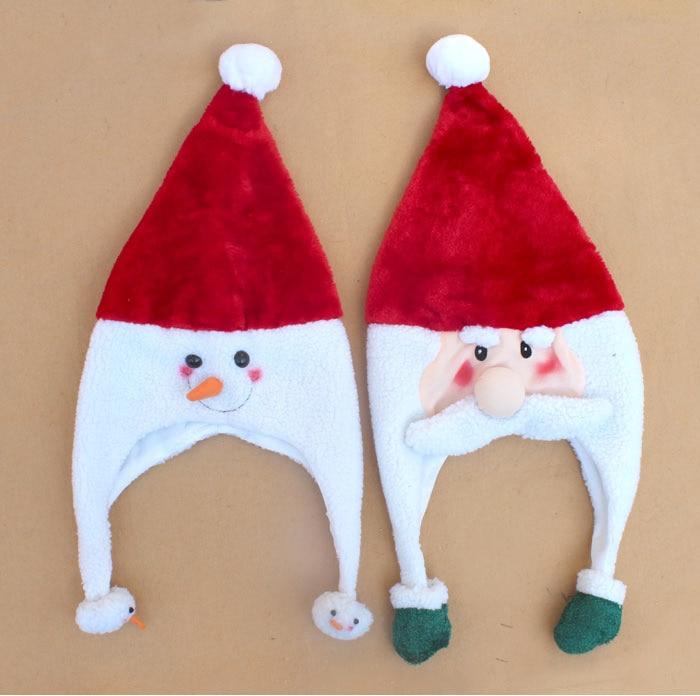 Free Shipping ,2pcs/lot ,plush velvet Snowman Santa Clau Christmas HAt warm hat Christmas promotion gift