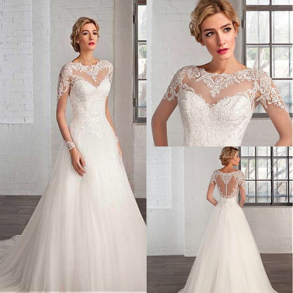Elegant Tulle Bateau Neckline A line Wedding Dresses with Lace Appliques Long Sleeve Bridal Gowns Robe De Mariage-in Wedding Dresses from Weddings & Events