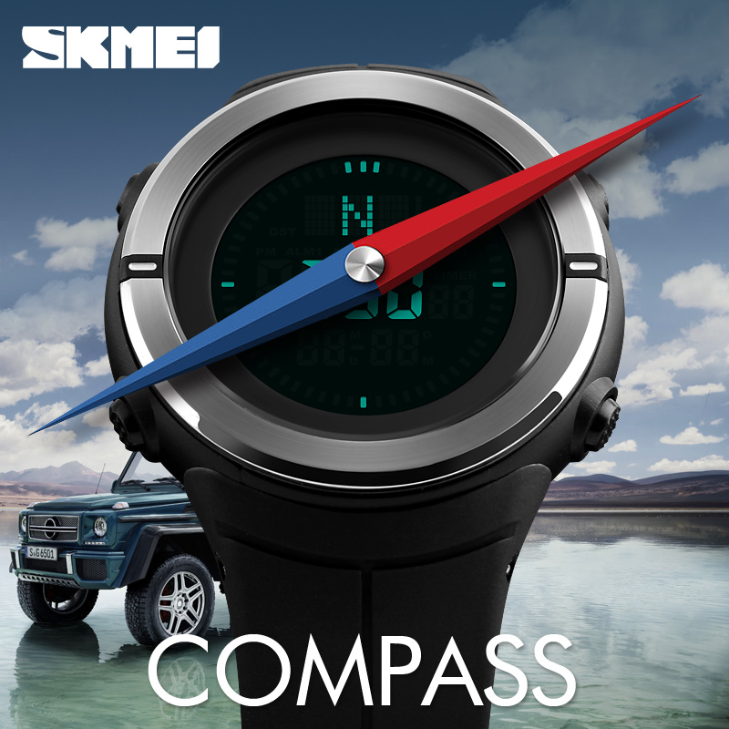 Trendy Sports brand SKMEI 1294 Compass Digital Watch for Men Luxury Multifunction Clock Date Shock Water Proof Electronic Watch sports outdoor multifunction electronic watch for men