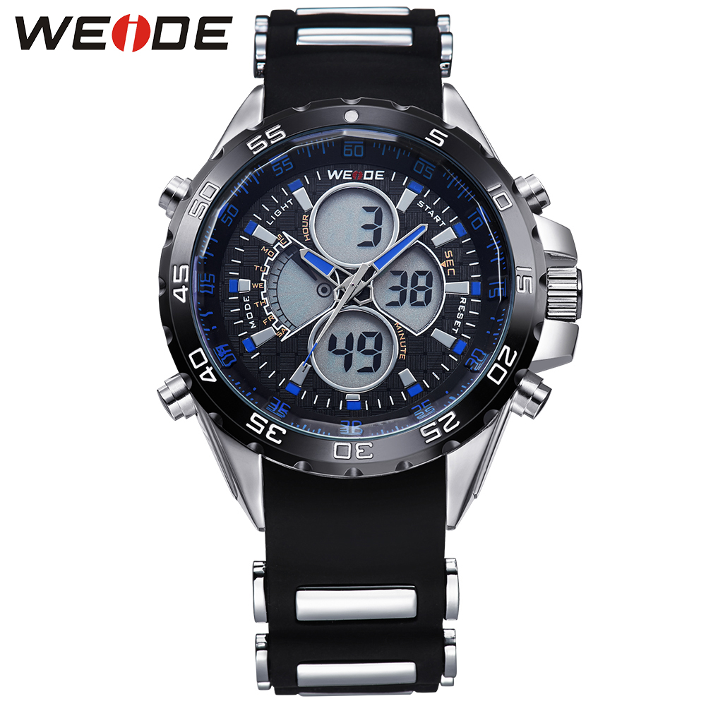 ФОТО WEIDE Men's Digital Quartz Watch Men Sports Watches Silicone Strap  Style 30 Meters Waterproof Military