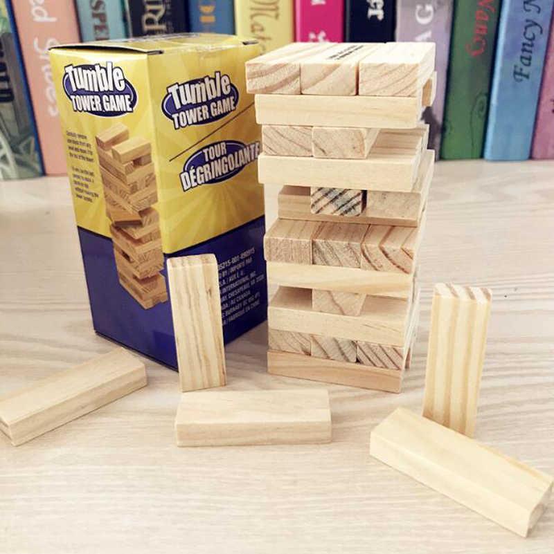 Libera la nave mini one set 36 pc di legno tumble gioco di torre di giocattolo blocco di legno stacking torre interattivo per bambini attività giochi giocattoli
