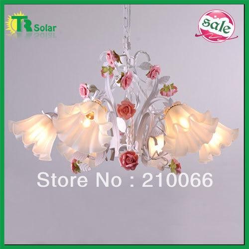 Free Shiping  E27*6 lighting Chandelier decorative with pink ceramic rose flower for living room & dinner room.etc