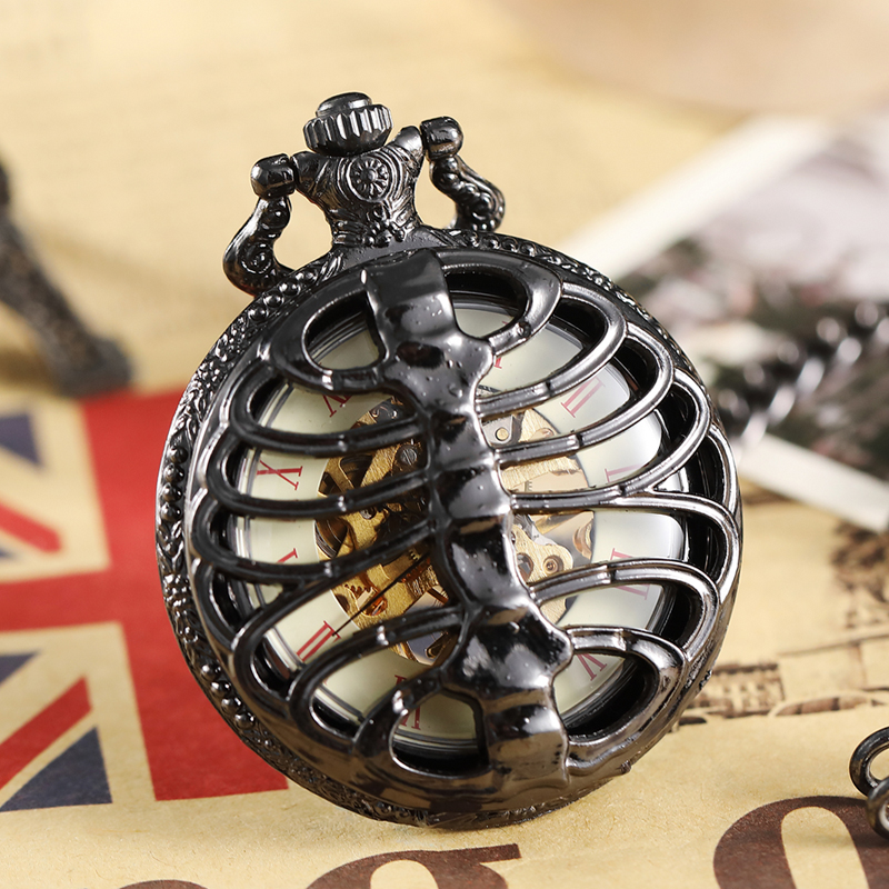 Retro Black Hollow Spine Ribs Style Mechanical Pocket Watch Male Steampunk Skeleton Clock Roman Pocket Watch With Fob Chain Men ks retro silver roman number hexagon analog snow hunter chain skeleton mechanical clock jewel male relogio pocket watch ksp101