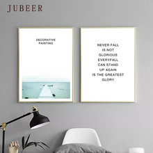 Nordic Decorative Painting Modern Minimalist Abstract Picture Landscape Seaside Quote Poster for Living Room Home Decor