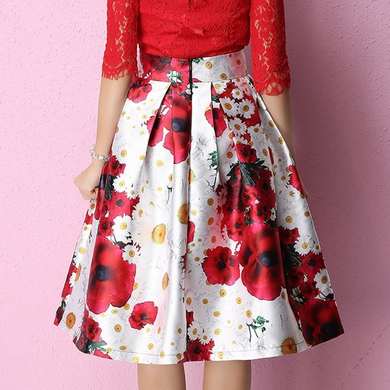 58c8c7883 Women Vintage Hepburn Floral Print Pleated Midi Skirt Ball Gown Flared  Swing Skirts-in Skirts from Women's Clothing on Aliexpress.com   Alibaba  Group