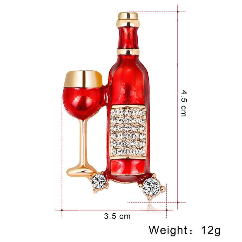 หนุ่ม Tulip Creative Enamel ขวดไวน์และไวน์เข็มกลัดสำหรับผู้หญิงเงา Rhinestone เข็มกลัด Pin อุปกรณ์เสริมแฟชั่นของขวัญ