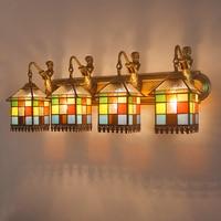 Тиффани привело Средиземноморский ванная комната, зеркало, настенные светильники туалете Ванной Комнаты Зеркало лампы Настенные светильн...