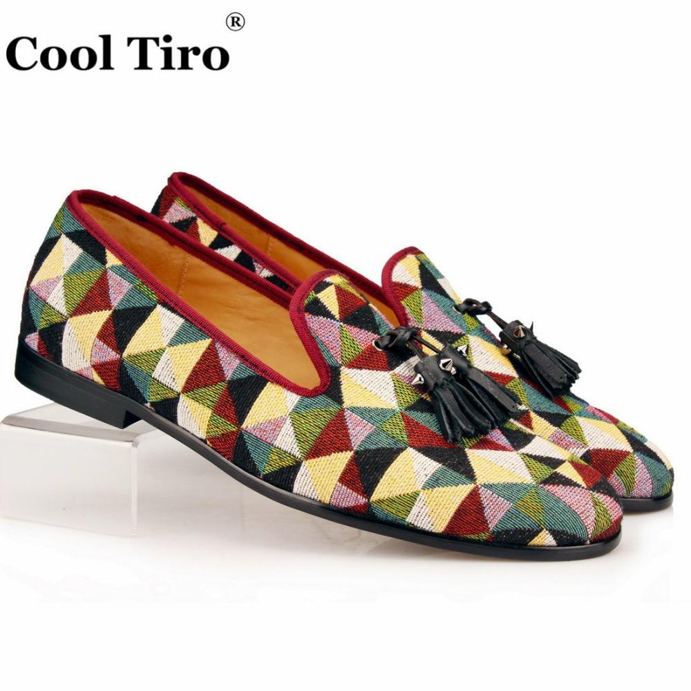 Cool Tiro Men Loafers Tassel Flat woven Hemp Slippers