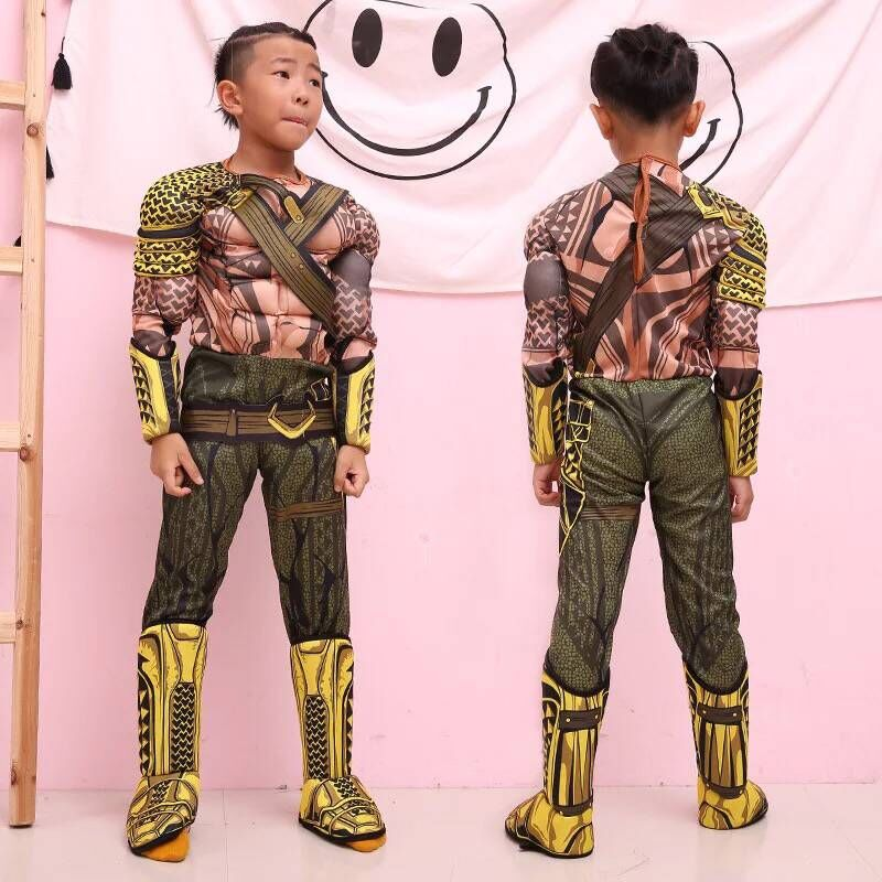 Boys Justice League Aquaman Cosplay costumes Muscle Jumpsuit Kids Party Holiday Costumes Suits Children