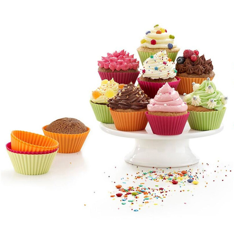 180 piezas redondas de 7 cm de copa de pastel pequeño Mini cupcakes liner casos tarts molde herramientas de decoración de 8 colores para hornear taza de silicona Muffin-in Moldes para pasteles from Hogar y Mascotas    1