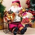 Alta Calidad 35 cm de Navidad Sentado Santa Claus Muñeca de Juguete Estatuilla Home Room regalo del Ornamento de La Decoración