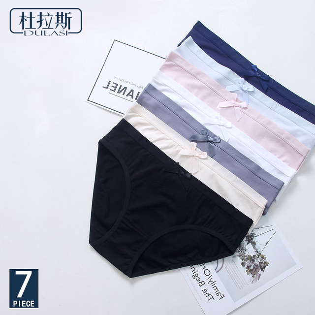 DULASI 7pcs/lot Cute Cotton Panties Underwear Women Low Waist Solid Briefs Soft and Comfortable Seamless Bows Lingerie