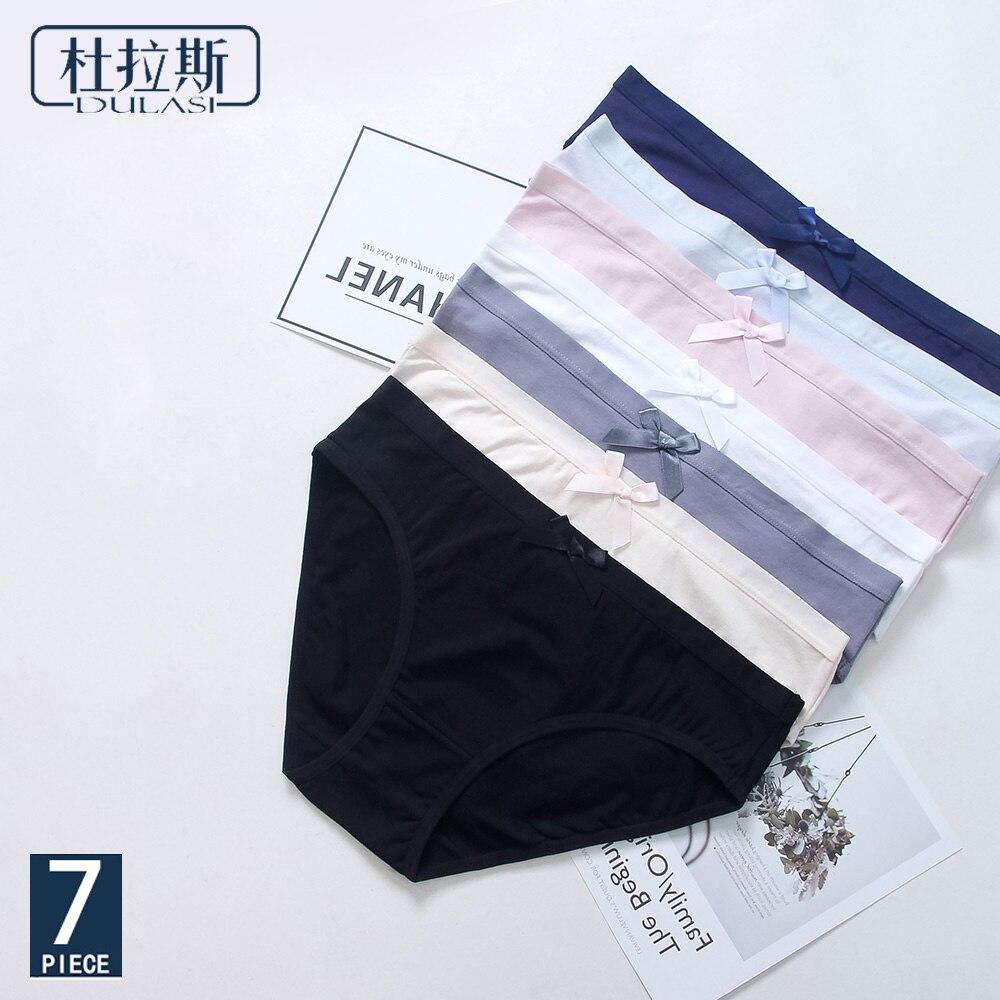 DULASI 7pcs/lot Cute Cotton   Panties   Underwear Women Low Waist Solid Briefs Soft and Comfortable Seamless Bows Lingerie