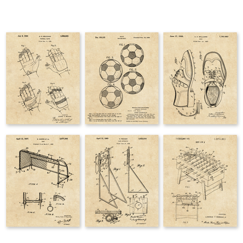 Soccer European football patent art 6 in1 set Vintage patent art prints poster unframed / football club wall decor