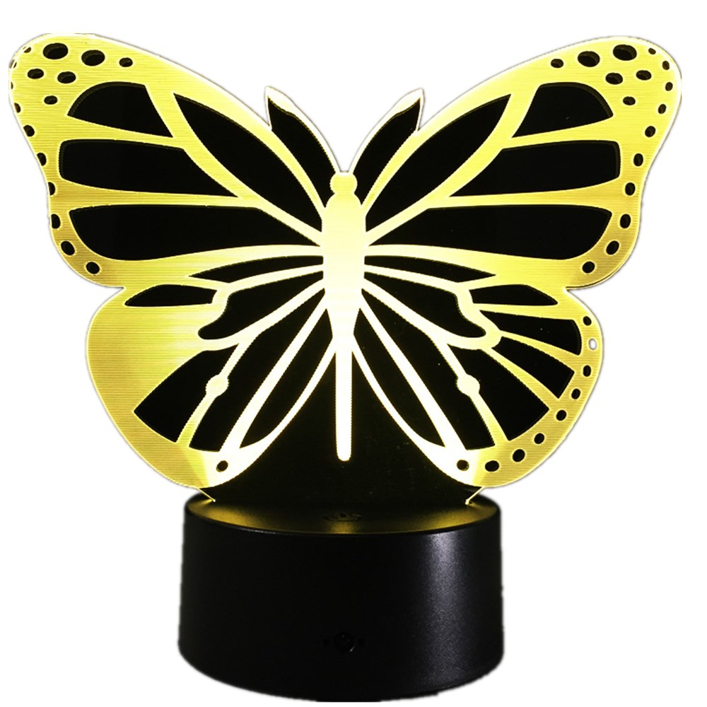 Butterfly Led Bedroom 3d Night Light Acrylic 3d Lamp 7 Colors