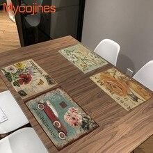 Retro Table Fabric Napkin Bird Flowers Mat Plants Kitchen Decoration Fashion Placemat Dining Accessories Satin Servilleta