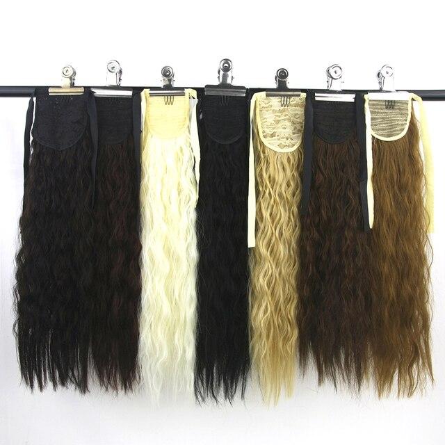 Soowee largo pelo rizado Cola de Caballo alta temperatura cola de Pony pieza de pelo sintético en extensiones de cabello